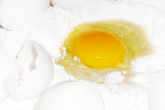 Dough. Egg and flour for knead dough Stock Photography