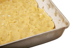 Dough in baking tray Royalty Free Stock Image