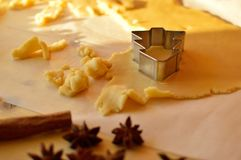 Dough for biscuits with christmas tree shape stock images
