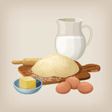 The dough on the board with a rolling pin. Eggs, butter, and milk jug. Vector illustration Royalty Free Stock Photo