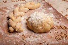 Dough braid on flour Royalty Free Stock Images