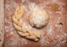 Dough braid on flour Royalty Free Stock Photo