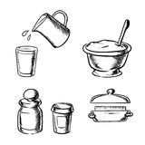 Dough, butter, milk, flour and spices sketch. Dough in bowl with wooden spoon, butter, glass and jug with milk, jars with flour and spices. Bakery ingredients in Stock Photos