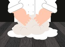 Dough. Chef and pastry chef. Baker at work. Vector illustration Stock Image