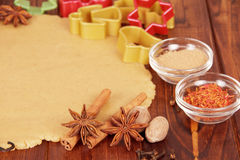 Dough for Christmas cookies and spices Stock Photography