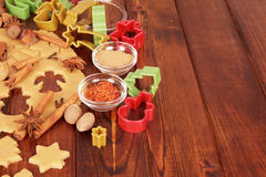Dough for Christmas cookies and spices Royalty Free Stock Photo