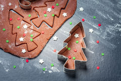 Dough for Christmas gingerbread tree cookies Stock Images