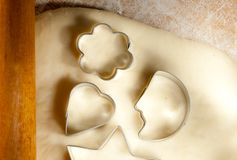 Dough and cookie forms Stock Photo