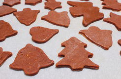 Dough for cookies in shape of christmas tree, heart and bell Stock Images