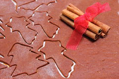 Dough for cookies in shape of christmas tree and star Stock Image
