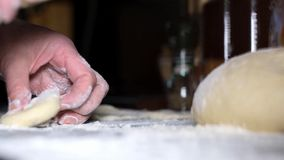 Dough on the table. Dough for cooking and flour on the table stock video