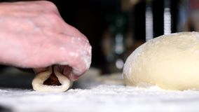 Dough on the table. Dough for cooking and jam on the table stock video footage