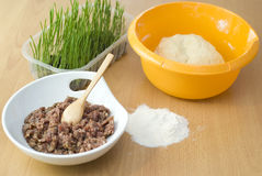 Dough with forcemeat Royalty Free Stock Image