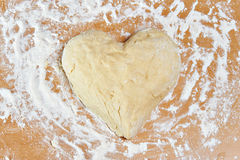 Dough in form of heart Royalty Free Stock Images