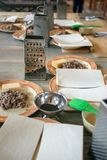 Dough, fried chopped meat and utensils for cooking classes on wooden table, concept of cooking class.  stock image