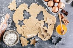 Dough for ginger biscuits. Ingredients for Christmas baking. Culinary background. Top view Royalty Free Stock Photo