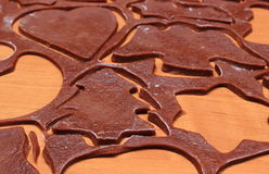 Dough for gingerbread in shape of heart, star and christmas tree Stock Photo