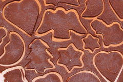 Dough for gingerbread in shape of heart, star and christmas tree Royalty Free Stock Photography