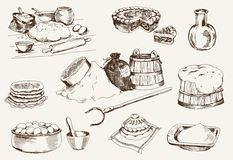 Dough at home. Set of vector sketches Royalty Free Stock Photos
