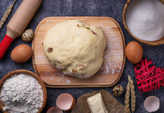 Dough and ingredients for baking. Egg, flour, sugar and butter Stock Photography