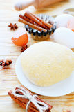 Dough and ingredients Royalty Free Stock Photos