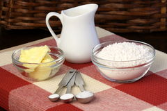 Dough ingredients and kitchen utensils Royalty Free Stock Photography