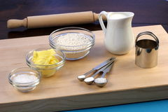Dough ingredients and kitchen utensils Royalty Free Stock Image