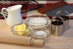 Dough ingredients and kitchen utensils Royalty Free Stock Photo