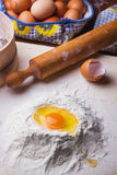Dough ingredients set on table. Dough ingredients set on a wooden table Stock Photography