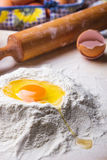 Dough ingredients set on table. Dough ingredients set on a wooden table Royalty Free Stock Image