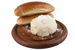 Dough and loafs Royalty Free Stock Photos