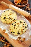 Dough for making Christmas stollen. Stock Photo