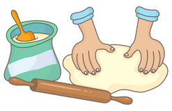 Dough. Making, with flour bag and rolling pin Stock Photos