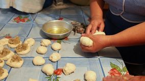 Manual method of preparing dough products. stock footage