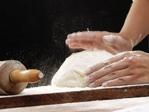 Dough and pizza. Royalty Free Stock Photos