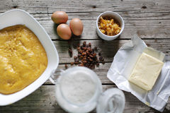 Dough preparation for cake ingredients, cake, butter, fruits Royalty Free Stock Photography