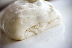 Dough preparation for ciabatta or focaccia Royalty Free Stock Photos