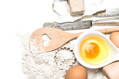 Dough preparation. food ingredients and kitchen tools Stock Photos