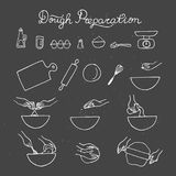 Dough preparation icon set. Hand drawn illustration. Royalty Free Stock Photo