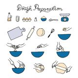 Dough preparation icons. Doodle  illustration Stock Image