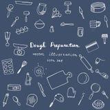 Dough preparation icons. Stock Image