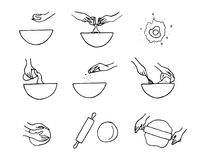 Dough preparation icons. vector illustration