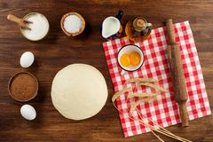 Dough preparation recipe bread, pizza, pasta or pie ingridients, food flat lay on kitchen table background. Text space.  Royalty Free Stock Photos