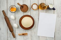 Dough preparation recipe bread, pizza, pasta or pie ingridients, food flat lay on kitchen table background. Text space.  Stock Photos