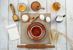 Dough preparation recipe bread, pizza or pie making ingridients, food flat lay on kitchen table background. Milk, yeast stock photos