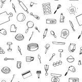 Dough preparation seamless pattern. Doodle cooking tools Stock Photos
