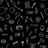 Dough preparation seamless pattern. Doodle cooking tools on a black background Stock Photography