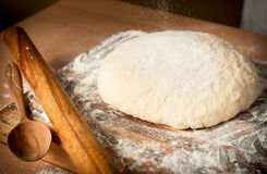 Dough_14. Raw dough on the wooden board Stock Image