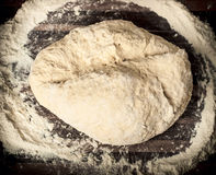Dough_21. Raw dough on the wooden board Stock Photos