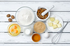 Dough recipe ingredients Royalty Free Stock Images